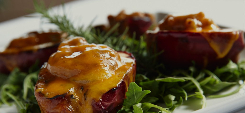 grilled sausage stuffed apples