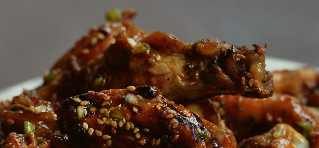 Grilled hot asian chicken wings