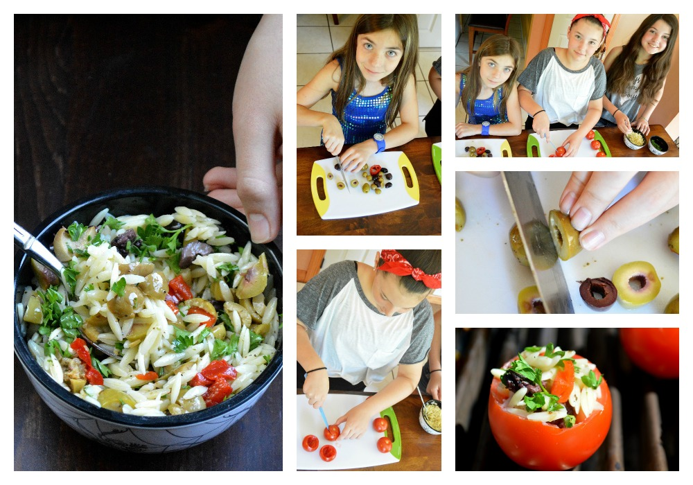kids prepping food for grilled stuffed mediterranean tomatoes
