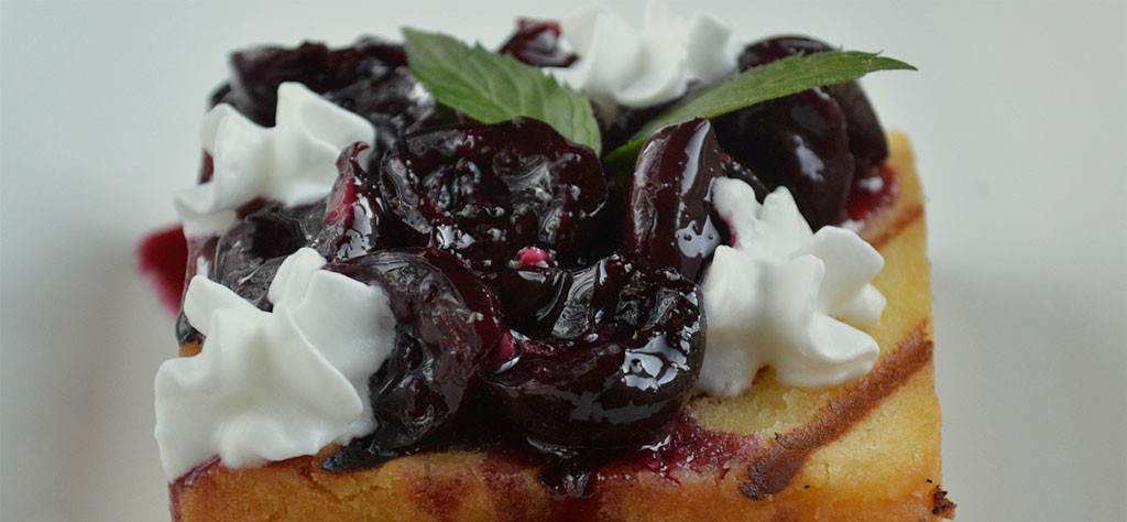 Grilled Pound Cake with Cherry Bourbon Compote
