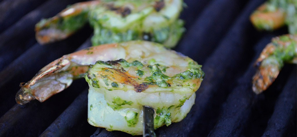 Grilled Shrimp with Cilantro Jalapeño Pesto