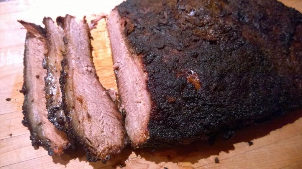 Grilled and sliced brisket