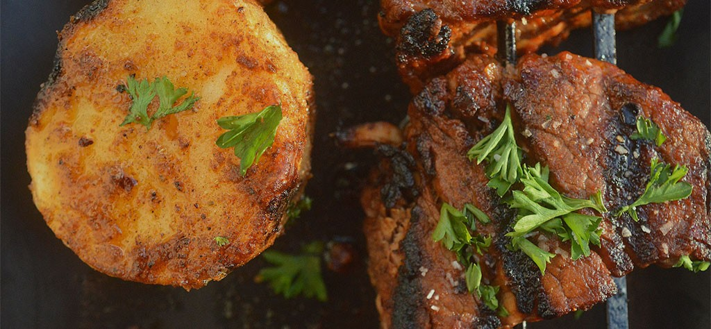 Grilled Brazilian BBQ Steak and Potatoes recipe on skewer