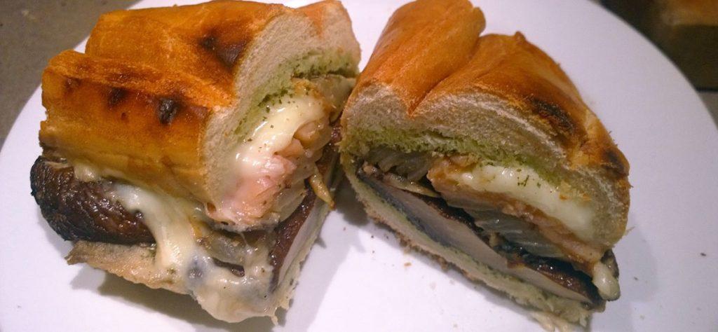 Grilled portobello salmon sandwich