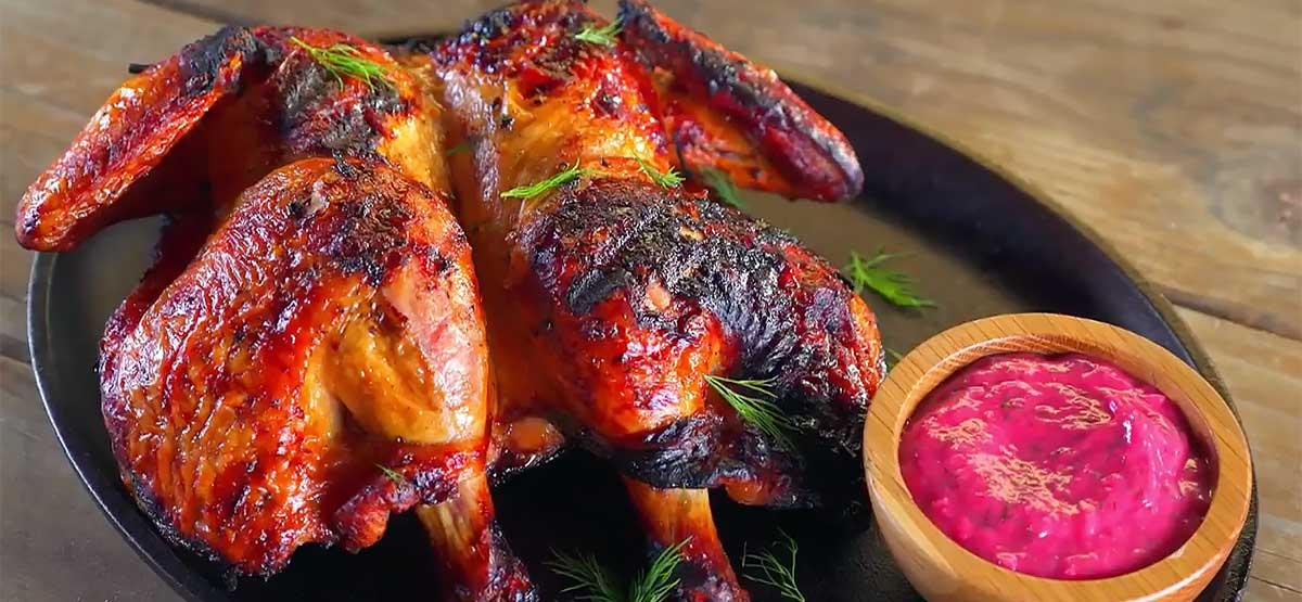 tabaka chicken with rhubarb tkemali