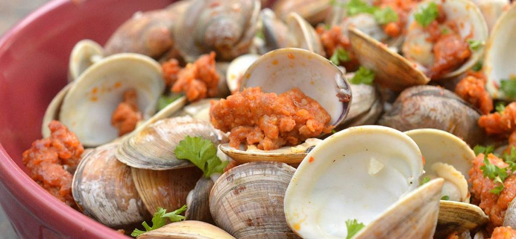 grilled clams and sausage