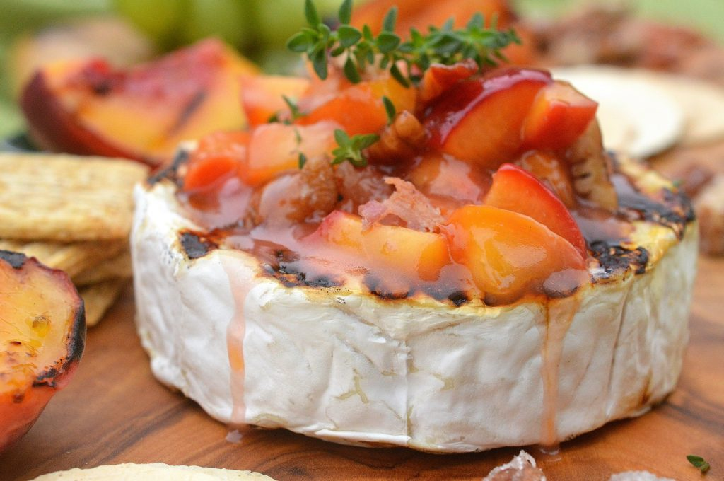 Grilled Brie with Bourbon Peach Compote