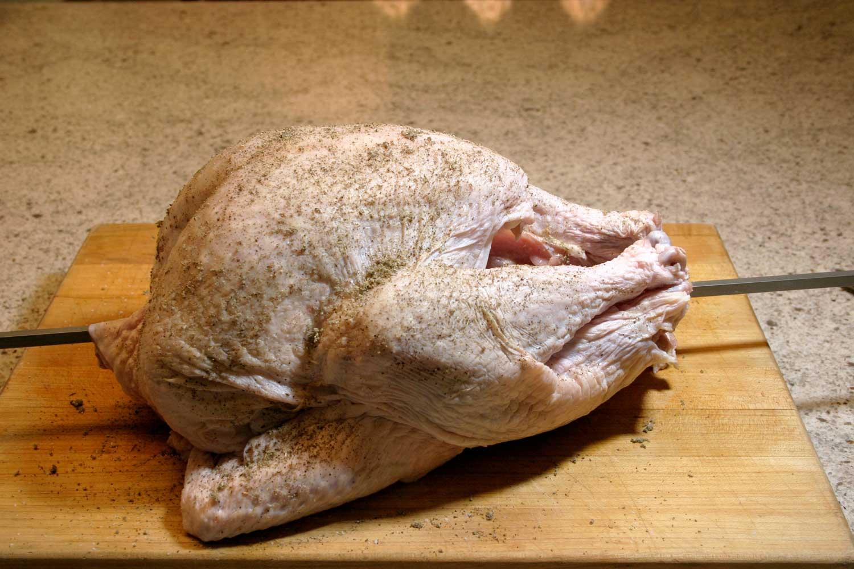 turkey on rotisserie rod