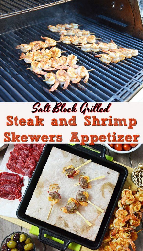 Salt Block Grilled Steak and Shrimp Skewers Appetizer