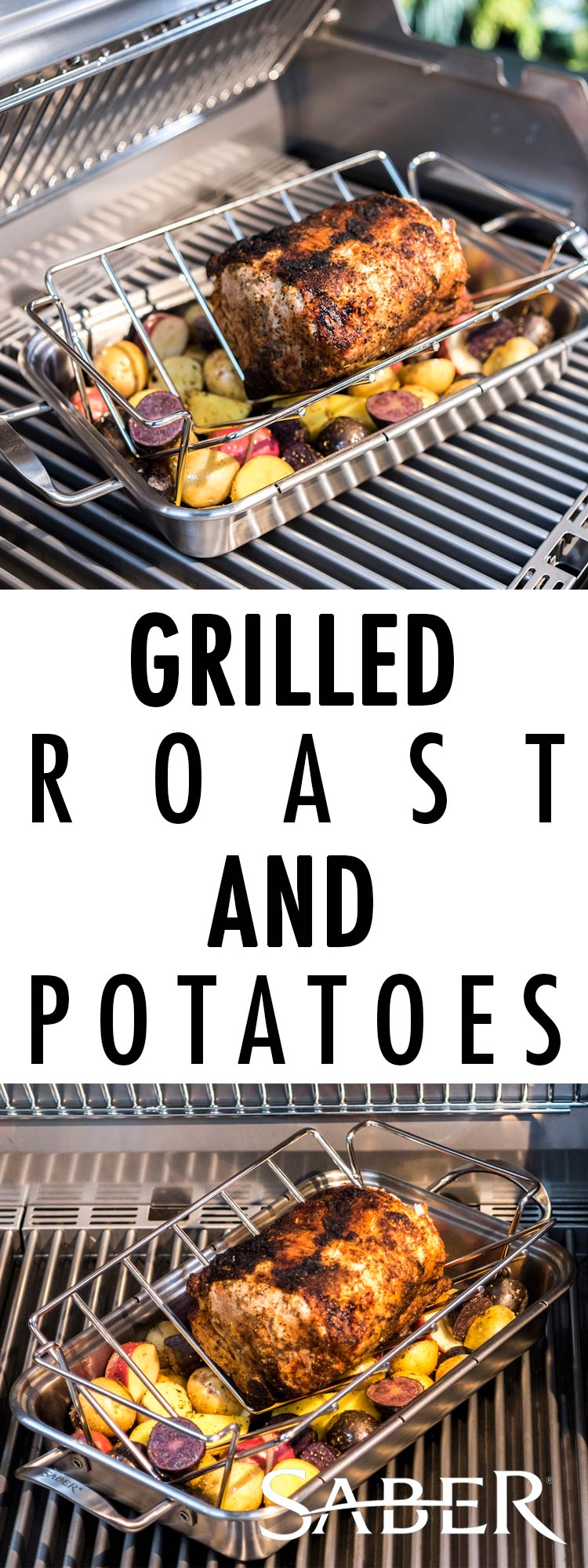 grilled roast and potatoes