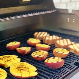 peaches and mangoes on the grill