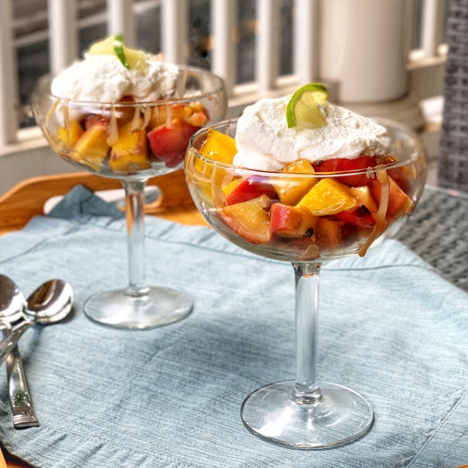 grilled mango and peach parfaits